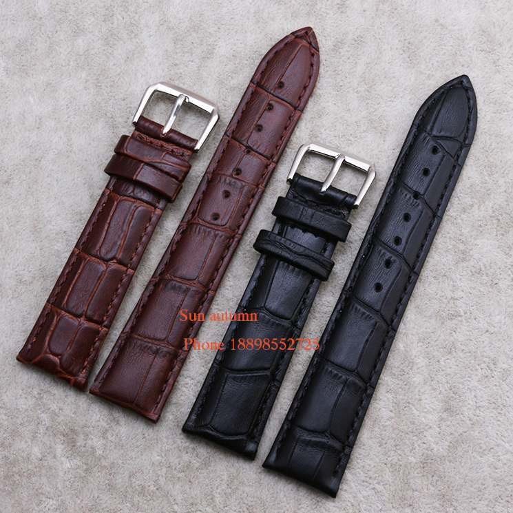 Wholesale ! Straps for wrist watches 14 16 18 19 20 21 22 - mm Watch Band Black Brown Leather Watchband Alligator Grain  Belt 20mm buckle 16mm black brown high quality alligator leather watchband waterproof straps bracelets for brand luxury men watches