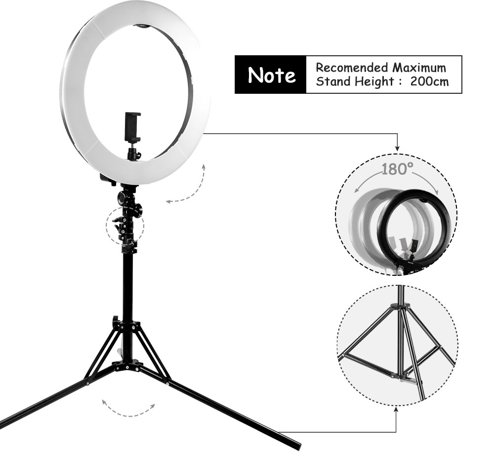 LED video Ring Light MountDog 18 inch Selfie 3200k 5600k With Tripod For Studio Ring Lamps Photography YouTube Photo Makeuplight-in Photographic Lighting from Consumer Electronics    2