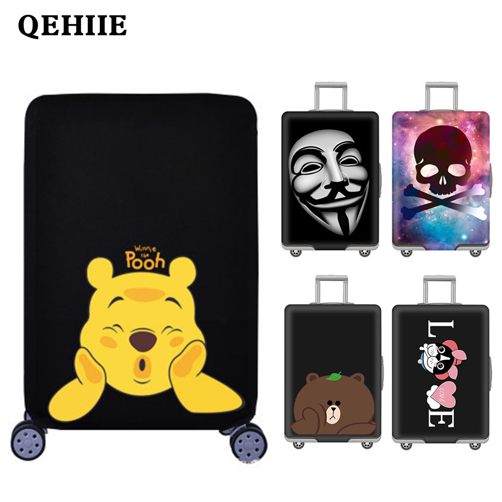 Travel Elasticity Trunk Lid Travel Around The World Beach Pattern Case Cover Travelling Accessoires Suitcase Protective Covers