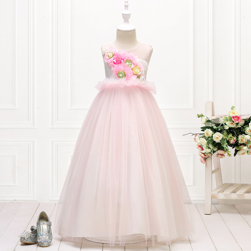 2019 new European and American children 39 s dress dress sleeveless flower princess birthday party show evening dress in Girls Costumes from Novelty amp Special Use