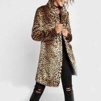 Осеннее модное пальто женское длинное пальто из искусственного меха с отложным воротником леопардовое толстое теплое пальто с мехом свобо...