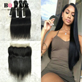 BQ Hair Mink 8A Remy Brazilian Straight Wave 360 Full Lace Frontal With 3 Bundles Straight Hair Extensions Cheap Hair Bundles