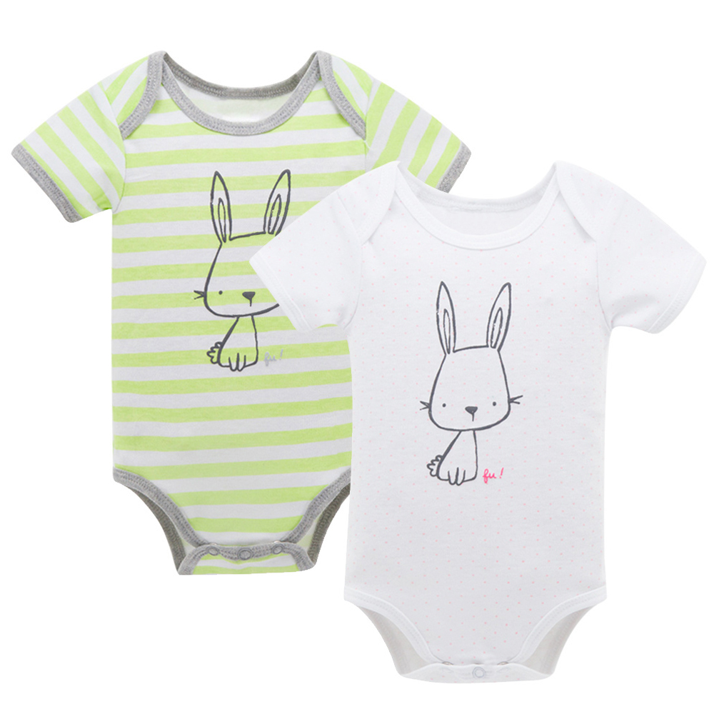 Newborn Cute Cartoon Animal Rabbit Printed Baby Boy Girl Rompers Soft Cotton Short Sleeve Kids Clothes Stripe Toddler Clothes delicate hot cute animal newborn girl boy soft sole crib toddler shoes canvas sneaker for 0 12m m22