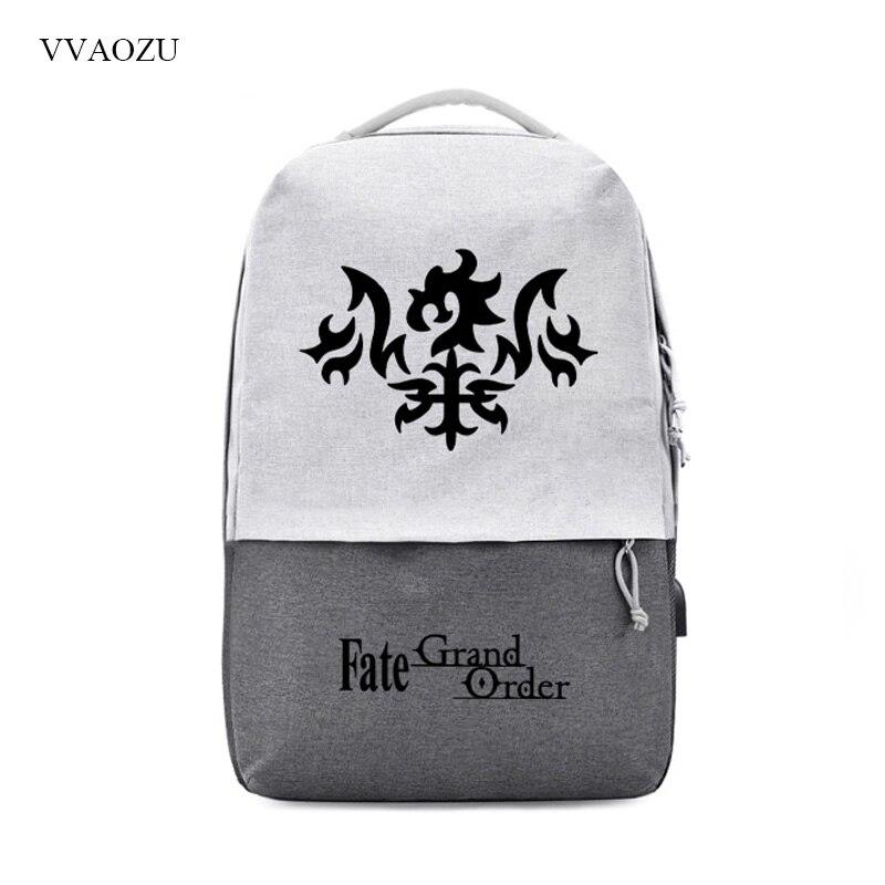 FGO Fate Grand order Backpacks USB Charge 15 6 inch Laptop Backpack Students School Shoulder Bag