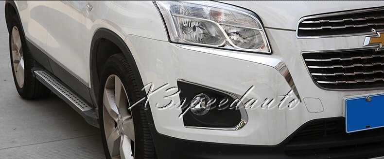 Free Shipping Chromed ABS Plastic Head Light Eyelid Cover Trim For Chevrolet TRAX 2014+