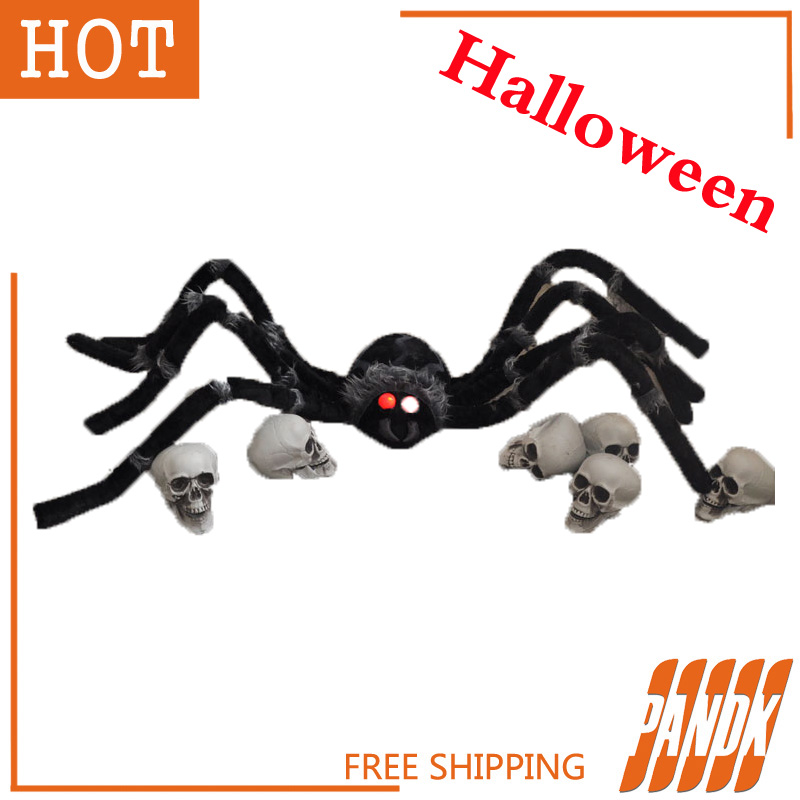 poseable furry spider light up giant spider halloween decorations holiday halloween props haunted house ideas party