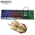7 LED Цвет Подсветки Игровой Клавиатуры USB Проводная + Железный Человек проводной Игровой Мыши Pro Gamer Компьютерных Мышей Для ПК Высокого Качества