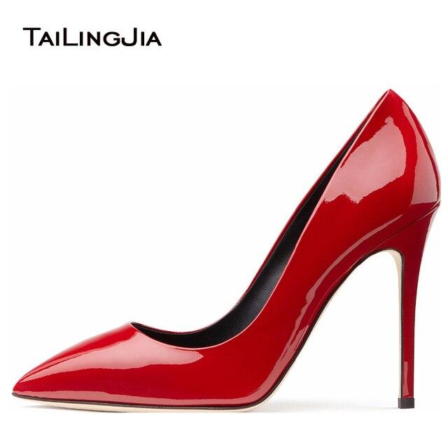b01eedd560d2f Sexy Kobiety czerwone czółenka 2017 Błyszczące Czarne Szpilki Złoto Patentu  Skórzane Damskie Podstawowe Pompy Pointy Metalowe