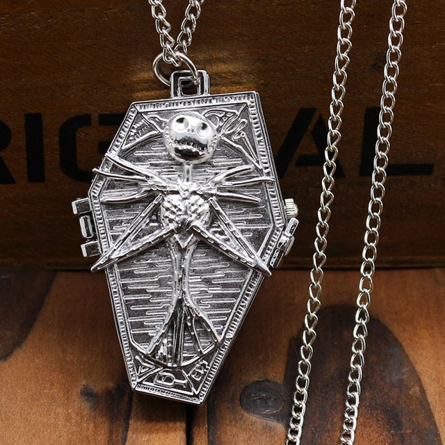 Fashion The Nightmare Before Christmas Coffin Design Sliver Pendant Pocket Watch