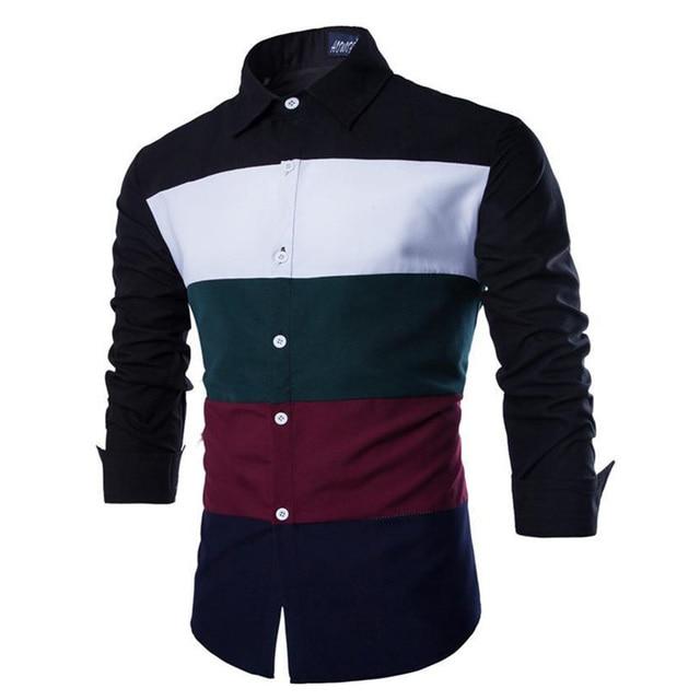 christmas deals 2015 new design fashion men clothes striped shirt business casual dress green black white - Christmas Deals 2015