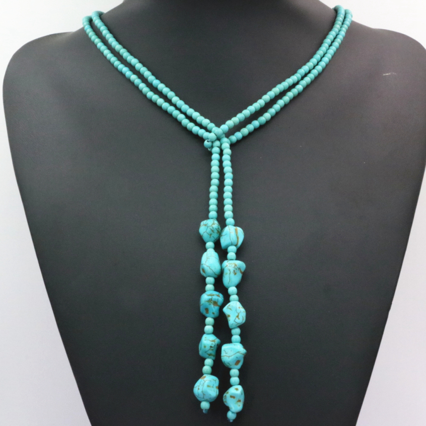 Hot sale Bohemia style 4mm calaite turquoises stone round beads long chain necklace women statement diy jewelry 50inch B3190