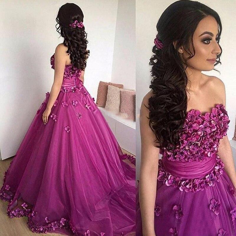 2019 fleurs robes de bal 2019 pourpre rouge chérie longue robe de bal robes formelles a-ligne épaule dénudée