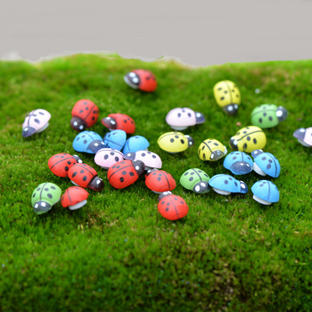 100 pcs/set Cute Ladybug  Mini Beetle Miniature Animal Figurine Anime Action Figure Toy for Home Garden Decor DIY Accessories