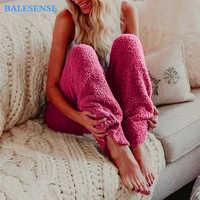 Winter Pants Women Plus Size Fur Warm Home Wear Leggings Fleece Elastic Waist Pajama Pants Casual Loose Solid Trousers 2019