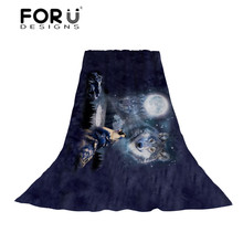 FORUDESIGNS Night Wolf Print Women Scarf Ladies Animal Light and Thin Scarves Females Moon Pattern Beach Towel for Teen Girls