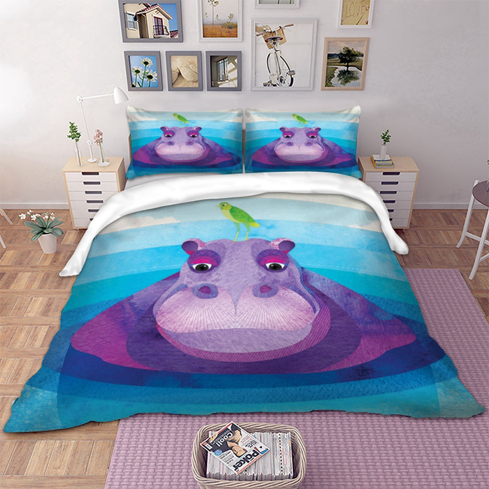 Hippo Animal Bedding Set Duvet Cover With Pillowcases Twin Full Queen King Size Bedclothes 3pcs home textileHippo Animal Bedding Set Duvet Cover With Pillowcases Twin Full Queen King Size Bedclothes 3pcs home textile