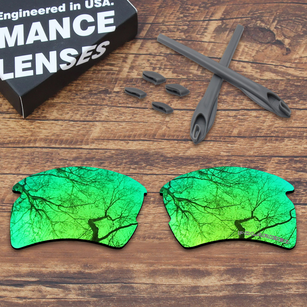 ToughAsNails Resist Seawater Corrosion Green Polarized Replacement Lenses and Gray Ear Socks & Nose Pads for Oakley Flak 2.0 XL