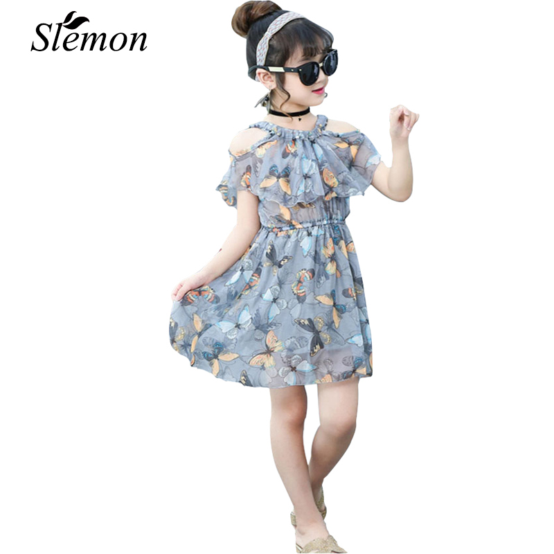 цены New Fashion Little Girl Chiffon Dress 2018 Cool Summer Strapless Butterfly Short Sleeve Dresses Kids Girl Style Boutique Clothes