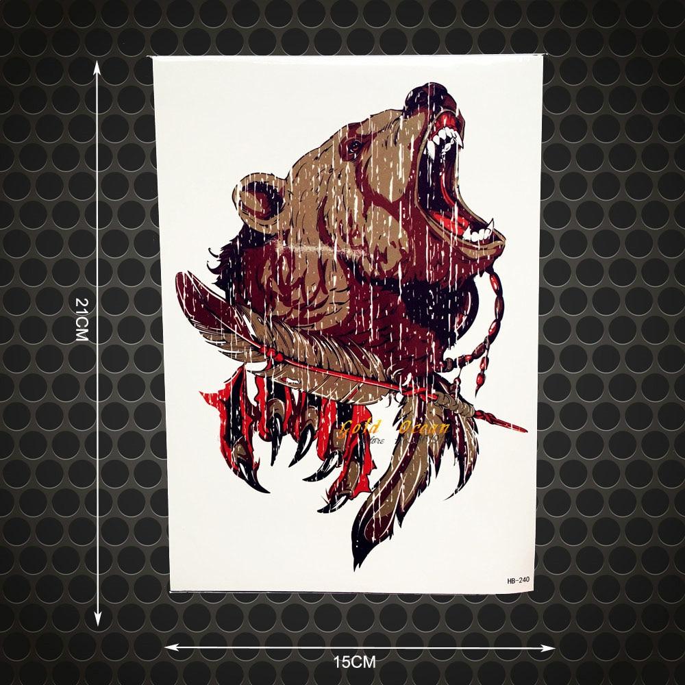 Beast Master Waterproof Temporary Roaring Bear Body Art Shoulder Tattoo Stickers 21x15CM Large Size Arm Tattoo Sleeve Men Women