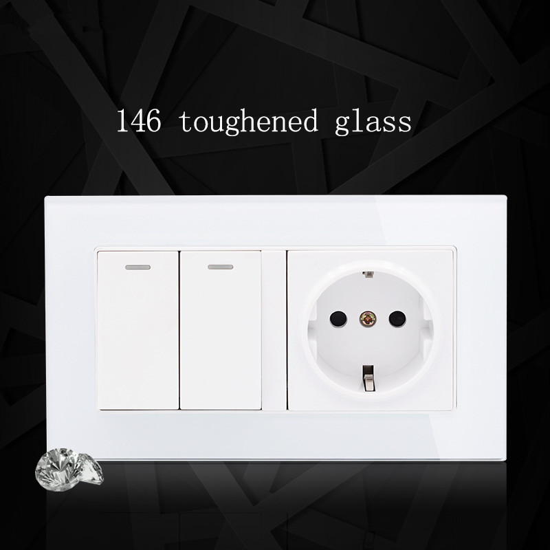 цена на Push Button switch with EU type socket 16A germany socket, White crystal glass panel AC110V~250V Wall Light Switch