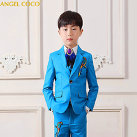 Feather collar flower Boys Suits for Weddings Costume Enfant Garcon Mariage T stage catwalk Boys Prom Suits Blazer Kids Suits