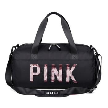 Fashion Women Travel Bag Ladies Black Travel Bag Pink Sequins Shoulder Bag Women Handbag Weekend Sports Duffel Bags LGX65 janeke black quilted travel bag medium