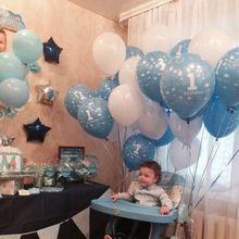 10pcs Baby Shower 1st Birthday Party Decor Bianco Blu Numero Aerostati della Stagnola Forniture Bambino ragazzo balls 2.2g 1 lattice elio globos