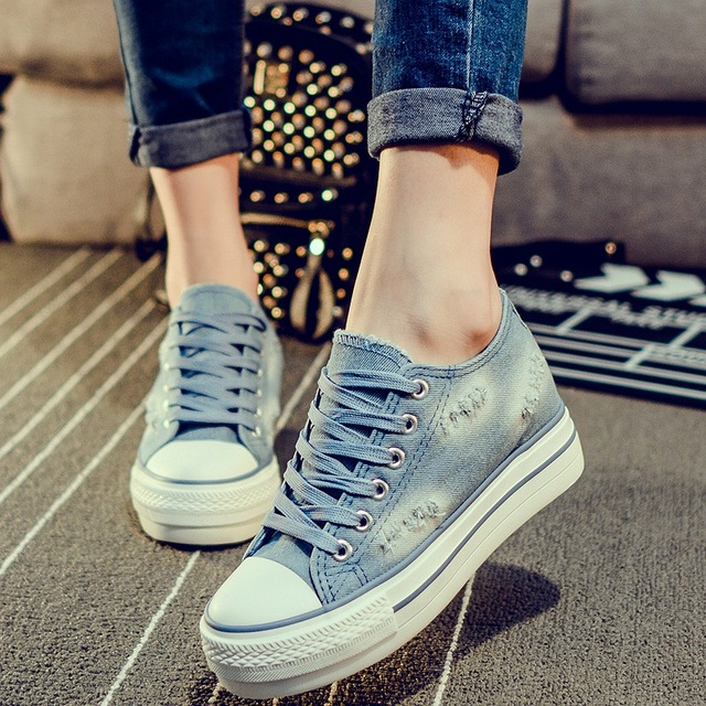 2016 Spring Autumn New Fashion Flat-bottomed Women Denim High Canvas Shoes  Student Casual Female Thick Bottom Comfort Shoes