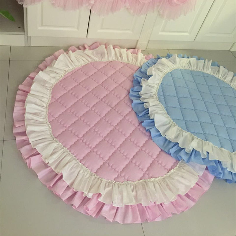 Nouveau princesse chambre tapis matelassé rond à volants tapis pour salon décoration tapis maison tapete tapis salon personnalisé alfombra