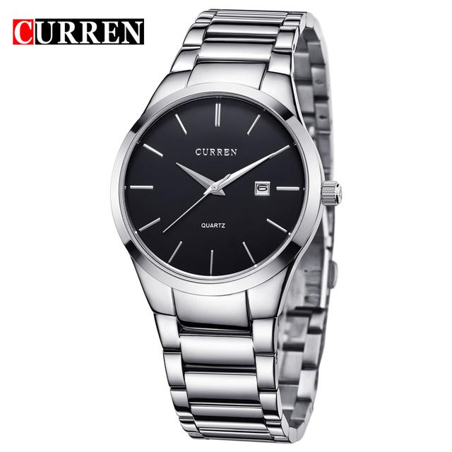 Marca de luxo Completa Aço Men Watch Data de Exibição Dia Calendário Homem Relógio de Pulso de Quartzo-Relógio Masculino Negócios Relógios Cinta Preta 2016