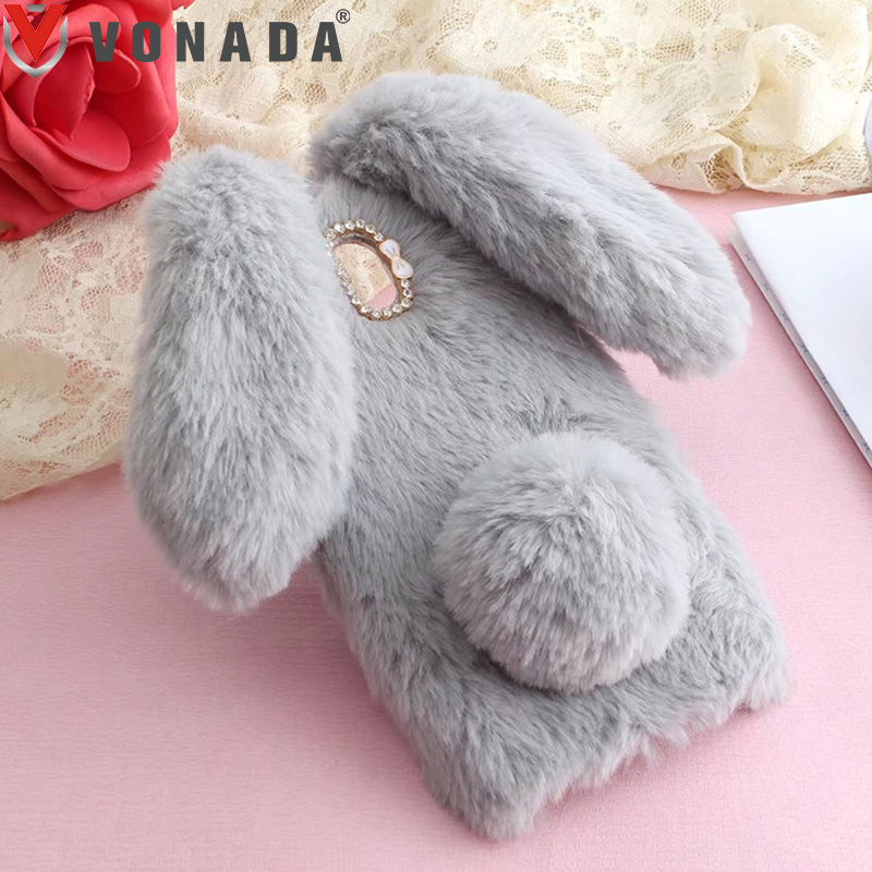 Vonada Plush Case for Doogee X5 Max HT16 HT17 HT7 HT3 X6 Y6 F5 Mix T6 Cute Rabbit Ears Fur Cover TPU Jewelled Soft Case Cover