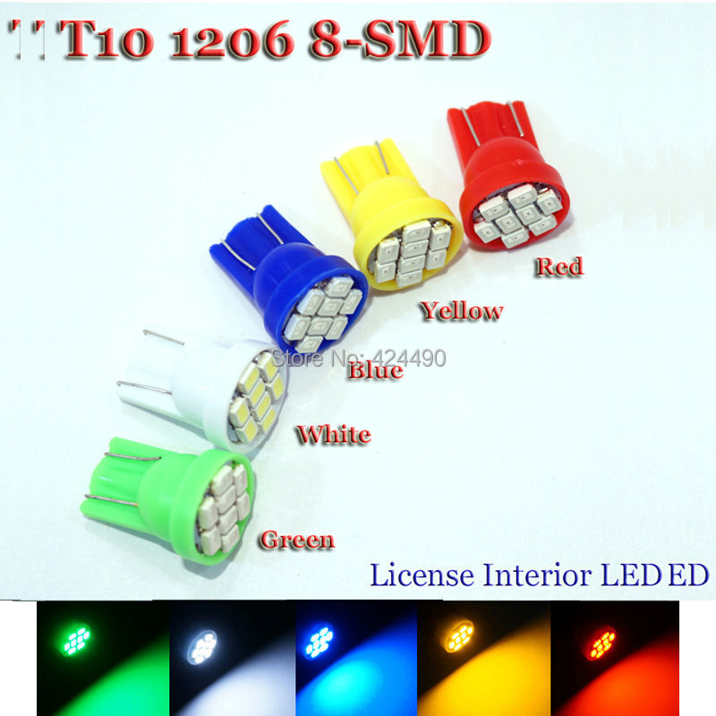 2000X T10 194 2825 W5W 8 led 3020 smd Car marker light reading dome Lamp door lamp Auto Clearance Lights License Plate bulbs 12V