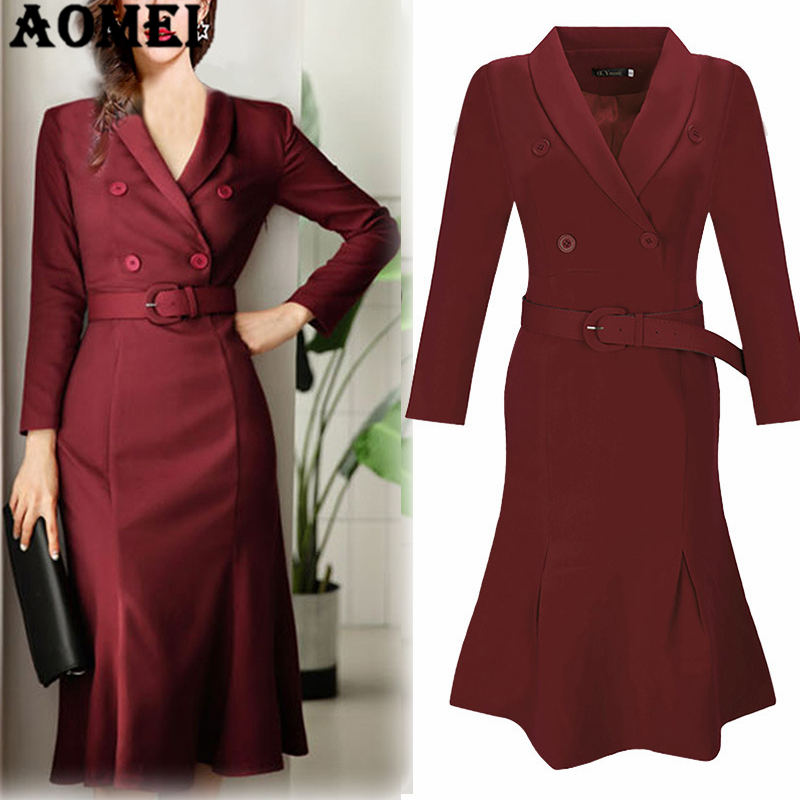 Women Office Dress Long Sleeve Classy Slim Ladies Elegant Work Wear Waist Belt Wine Red Navy Blue Femme Fashion Casual Robes day dress