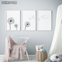 Dandelion Wall Art Prints Minimalist Decor Poster Black and White Canvas Painting Decoration Picture Home