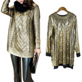 women autumn winter metal gold loose golden sweater