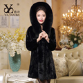 New 2016 Women  Real Pieces Mink Coat With a hood Genuine Mink Fur jacket Lady Winter Warm Natural Mink Fur Outwear