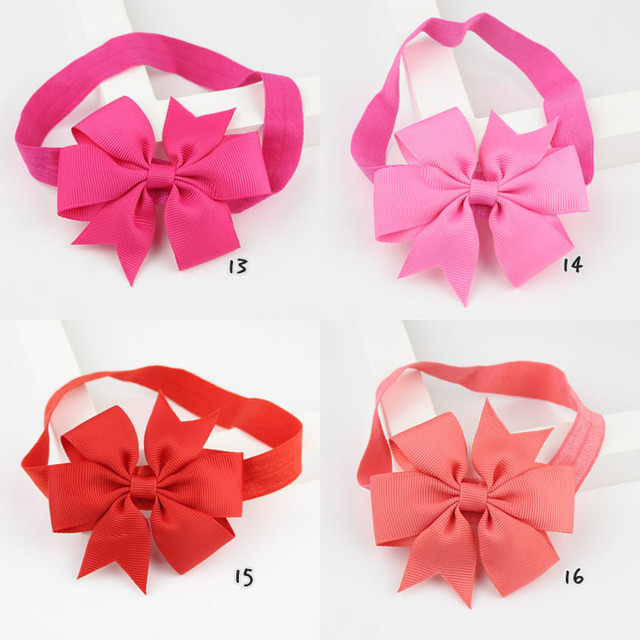 Cute baby bow tie Headband Polyester Ribbon Bow Elastic Hair Bands Children Easy to wear Hair Accessories Headwear Pink/white