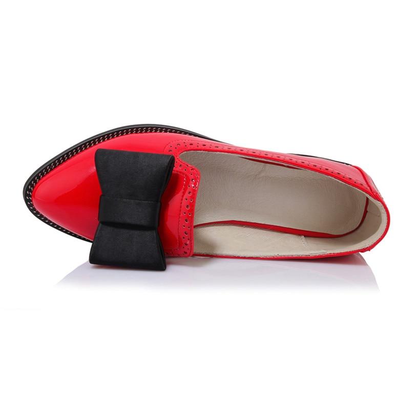 Bowtie Vintage Chaussures Richelieu Femmes Verni Robe Casual Appartements Bout Noir Black Office Britannique En Pointu Mocassins 2019 Cuir red Lady vCExz5