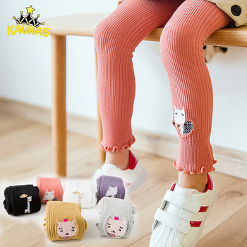 KAVKAS Spring Autumn Girls Tights Cartoon Cat Baby Girl Pantyhose Fashion Purfle Cotton Cute Striped Kids Baby Girls Stockings tights