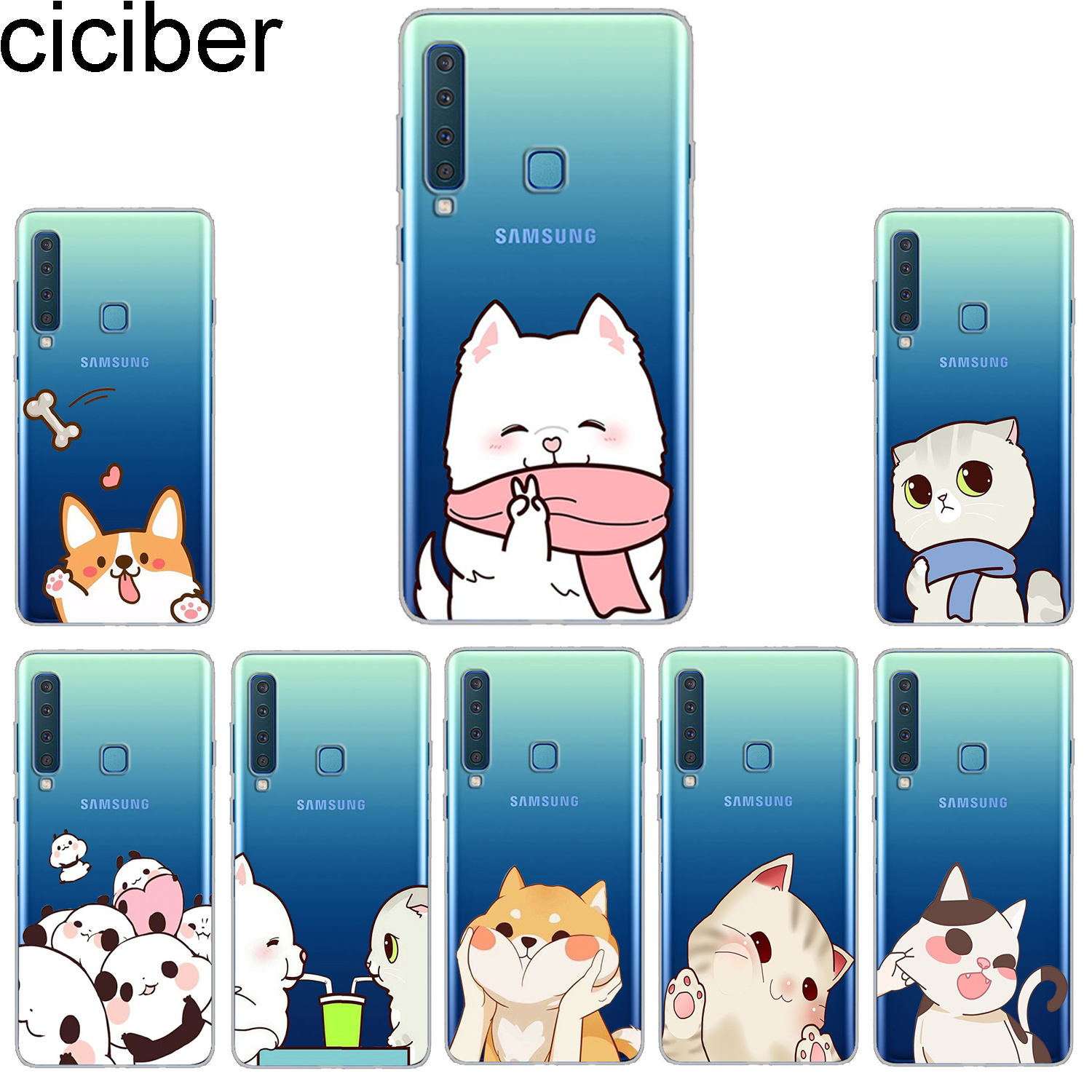 ciciber <font><b>Phone</b></font> <font><b>Case</b></font> for <font><b>Samsung</b></font> <font><b>Galaxy</b></font> A6 A8 A7 A9 Plus 2018 Star Soft Back Cover for <font><b>Samsung</b></font> A5 <font><b>A3</b></font> 2016 <font><b>2017</b></font> A6S Animal Cat <font><b>Dog</b></font> image
