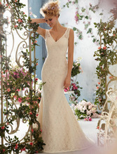 2014 Grecian Style Manufacturer Made Mermaid V Neck Low Back Sweep Train Spanish Lace Wedding Dress Sale Online ML003