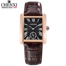 Small Dial Work Model CHENXI Informal Couple Watch Brown Gold Mixture Sq. Quartz Watches For Males&Girls With High quality Leather-based
