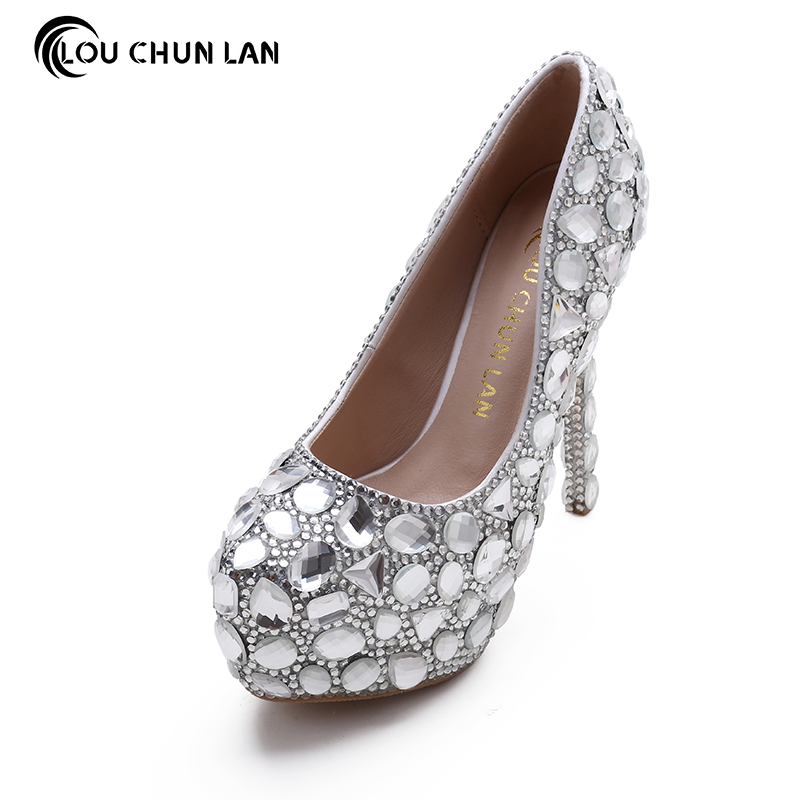 LOUCHUNLAN Shoes Women's Shoes Pumps silver Wedding Shoes Full Crystal British Style Bride Shoes Super High Heels platform