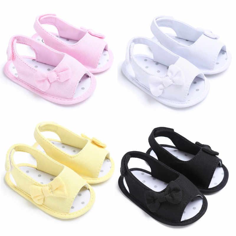 Bebê recém-nascido meninas sapatos de verão sandália sola macia antiderrapante meninas da criança sapatos sólido branco rosa amarelo azul