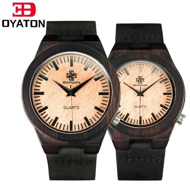 Novos Amantes de Relógio de Couro Genuíno Banda Antigo Em Madeira De Luxo Relógios de Quartzo Preto Relógio de Pulso Para Mulheres E Homens Relógio De Madeira De Bambu