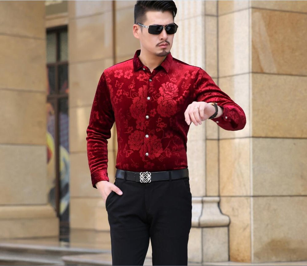 Buy 2016 latest style autumn winter for Red velvet button up shirt
