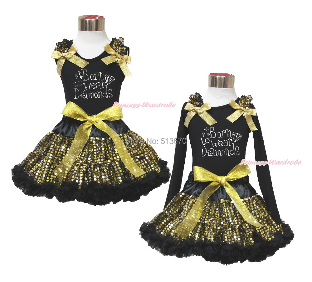 Easter Rhinestone Born To Wear Diamonds Black Top Bling Gold Sequins Skirt 1-8Y MAPSA0486 цена и фото