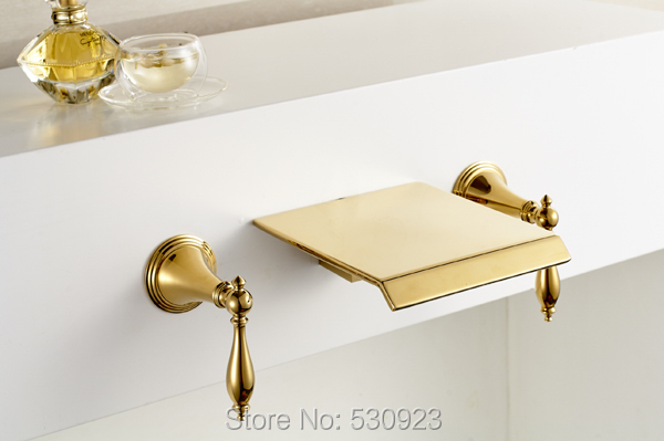 Newly US Free Shipping Euro Style Golden Finish Bathroom Waterfall Bathtub Faucet Dual Handles Three Holes Wall Mounted free shipping polished chrome finish new wall mounted waterfall bathroom bathtub handheld shower tap mixer faucet yt 5333