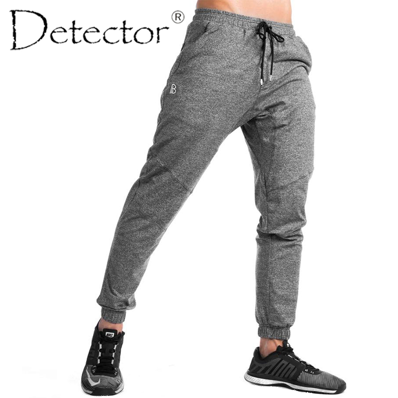 Detector Mens Running Fitness Pants Sportwear Elastic Drawstring Trousers Men Outdoor Sport Clothing men letter print side drawstring pants