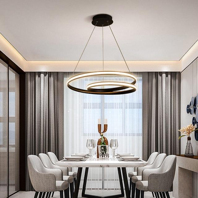 Hot Creative Modern Led Pendant Lights for Living Room Dining Room Bedroom White or Black Deco Pendant Lamp Fixtures 90-260V